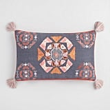 Oversized Slate and Brick Red Embroidered Lumbar Pillow
