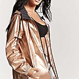 Forever 21 Metallic Hooded Windbreaker