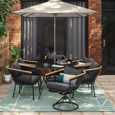 Bangor 7pc Patio Dining Set Charcoal