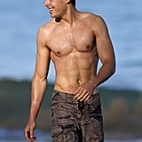 He took a shirtless dip while visiting Maui in June 2010.