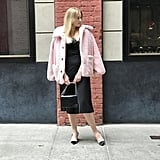 Pink Teddy Coat: Dressed Up With an LBD and Heels