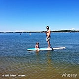 Harper Smith hitched a ride on her dad's paddle board while playing on the East end of Long Island. Source: Instagram user tathiessen