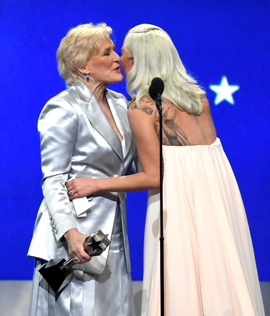 The Critics' Choice Awards were full of interesting twists and turns on Sunday night. After Amy Adams and Patricia Arquette both took home best actress in a movie made for TV or limited series, there was yet another tie for best actress. Glenn Close took home the award for The Wife, while Lady Gaga was awarded for her performance in A Star Is Born. Both of the actresses gave incredibly moving speeches, with Close thanking her daughter, Annie Starke, who played a younger version of her character in the film, and Gaga thanking her costar Bradley Cooper. As if their speeches weren't enough to make us burst into tears, the two shared a sweet moment as they embraced and walked off the stage together.       Related:                                                                                                           Presenting the 2019 Critics' Choice Awards Winners: Lady Gaga, Regina King, and More!