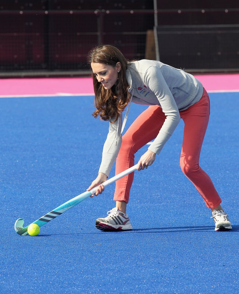 Kate Middleton showing off her hockey skills.