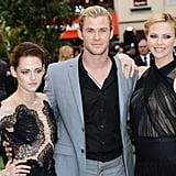 Kristen Stewart and Charlize Theron posed with Chris Hemsworth at the London premiere of Snow White and the Huntsman.