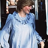 A take on Italian style: Princess Diana stepped out in a long-sleeved polka dot dress while on a trip to the Scilly Isles in April 1984. She finished the look off with a timeless string of pearls.