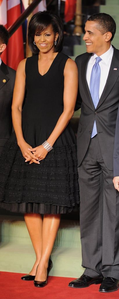Michelle Obama wore Alaia to a NATO conference.