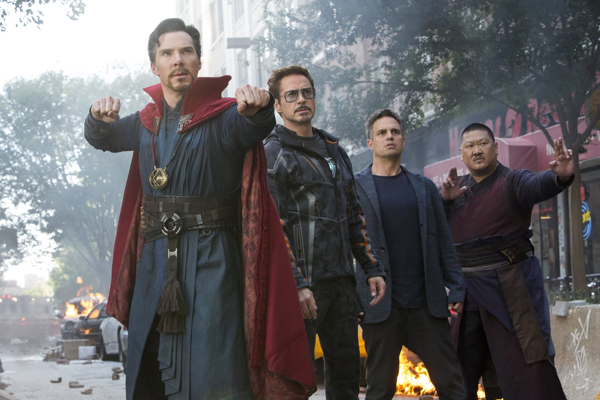 Marvel Studios' AVENGERS: INFINITY WAR..L to R: Doctor Strange/Stephen Strange (Benedict Cumberbatch), Iron Man/Tony Stark (Robert Downey Jr.), Bruce Banner/Hulk (Mark Ruffalo) and Wong (Benedict Wong)..Photo: Chuck Zlotnick..©Marvel Studios 2018
