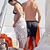 Pregnant Camila Alves wore a bikini while Matthew McConaughey went shirtless for a fun day in Ibiza.