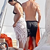Pregnant Camila Alves wore a bikini while Matthew McConaughey went shirtless for a fun day in Ibiza.