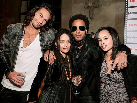 Lenny Kravitz and Lisa Bonet pose for a blended family portrait with daughter Zoë and Jason Momoa