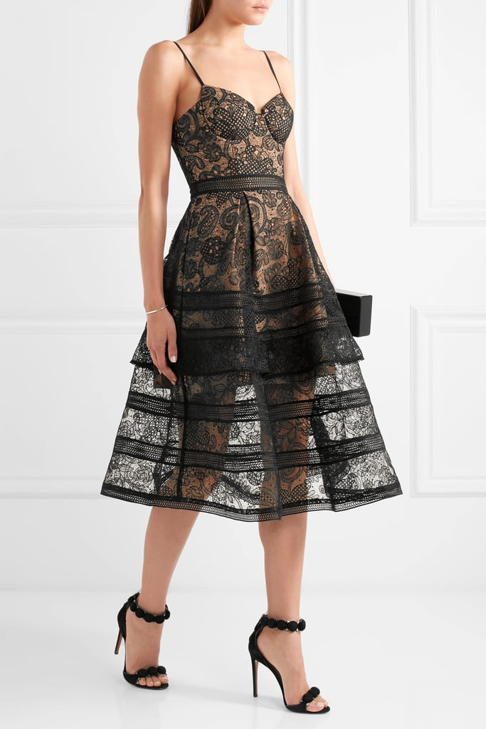 f60d3ad23ae8d Self-Portrait Tiered Paneled Guipure Lace Dress ($475) | Award ...