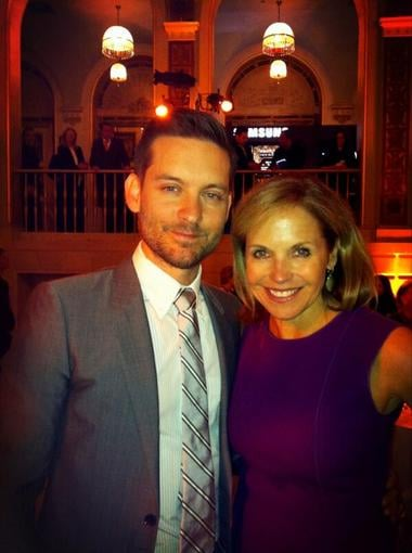 Katie Couric posed with Tobey Maguire at a Great Gatsby press luncheon. Source: Twitter user katiecouric