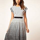 The silhouette's universally flattering, and the classic stripes add a perfect dose of print that would look fantastic with a pair of espadrilles.  Asos Midi Dress in Stripe ($68)