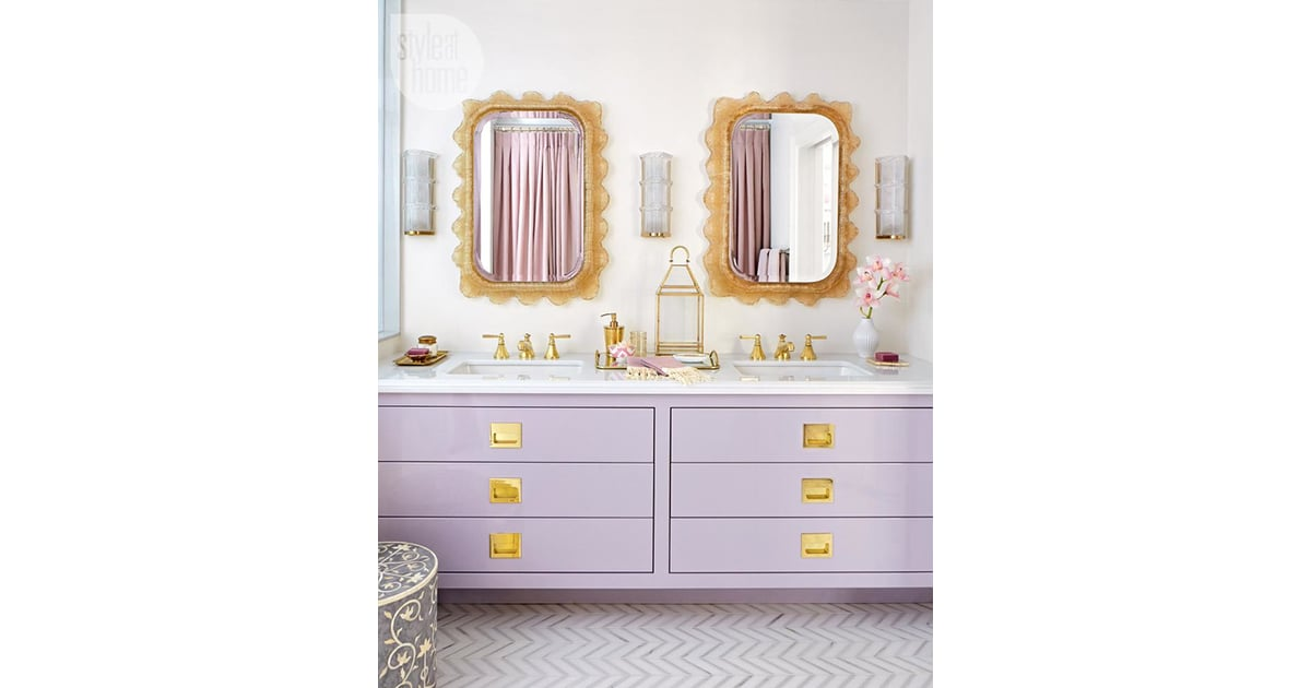 The purple and gold of this bathroom match her family 39 s for Purple and gold bathroom ideas