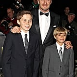 David, Brooklyn, and Romeo suited up for The Sun Military Awards in December 2011.