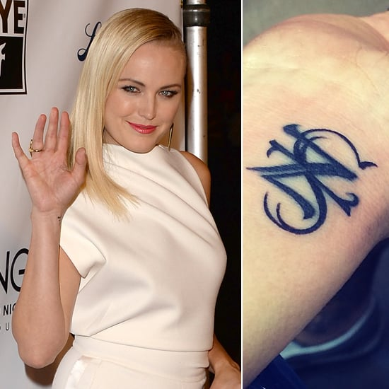 """The """"Z"""" on Malin Akerman's wrist was originally for Roberto Zincone. She had it changed to an """"S"""" for her son Sebastian after the couple's marriage ended.  Source: Getty, Instagram user therealmalinakerman"""