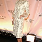 Melania wore a jacquard coat with furry trim to the 2003 Victoria's Secret Fashion Show in New York City.