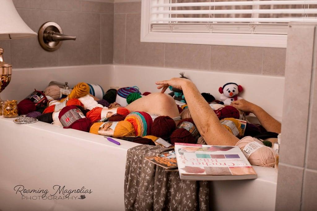 Grandma Poses For Boudoir Photo Shoot in Bathtub of Yarn