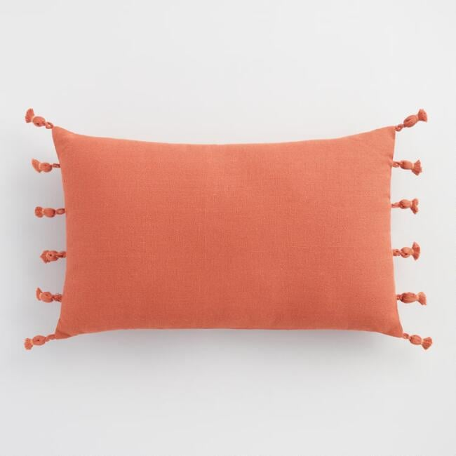 Oversized Rust Tassel Indoor Outdoor Lumbar Pillow