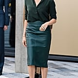 Meghan Markle Work Outfit Idea: A Leather Pencil Skirt and Button-Down