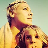"Pink reflected that ""the most important jewels that will ever be wrapped around your neck are the arms of your children."" Source: Twitter user pink"