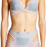 For a geometric pattern, try this Mara Hoffman Diamond High-Waist Bikini ($139).