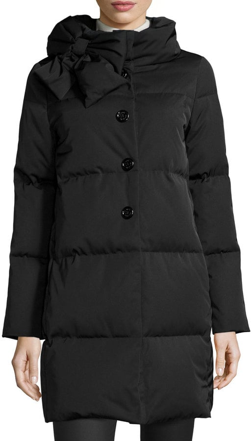 Kate Spade Funnel-Neck Puffer Coat With Bow ($418, originally $698)