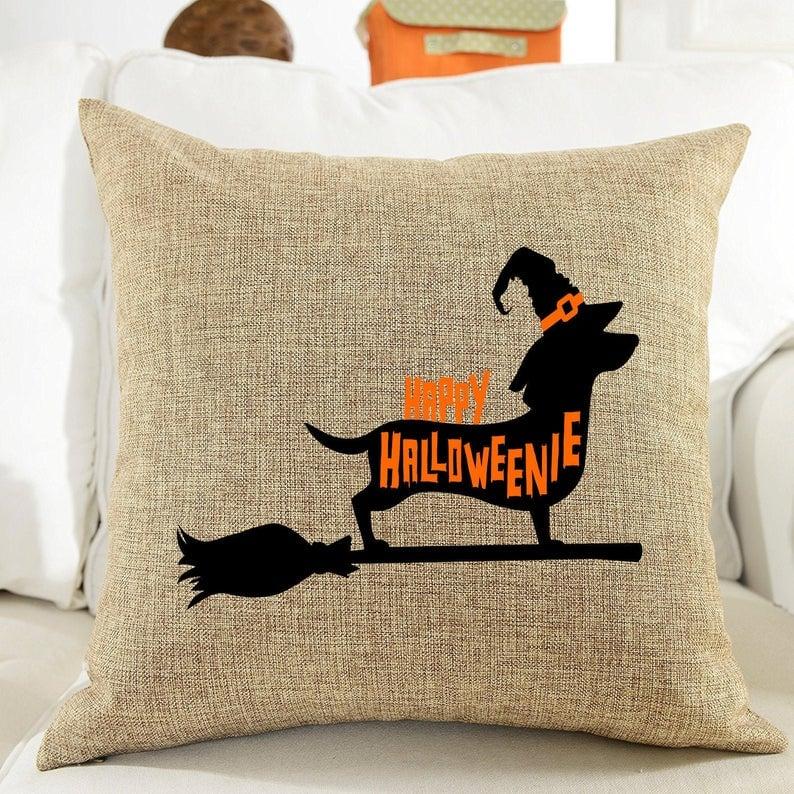 Happy Halloweenie Weenie Dog Pillow Cover
