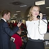 Eva Herzigova joined Harry at the phone bank.
