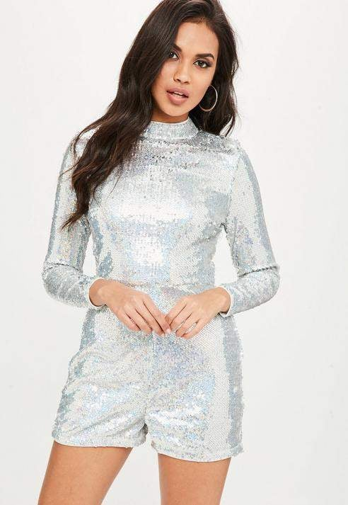 2e925647b Missguided Silver Sequin Long Sleeved Romper | Miley Cyrus's Silver ...