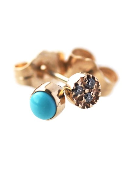 I just came across Mociun's jewels a few weeks ago and have been enamored ever since. These whimsical mismatched turquoise and diamond earrings ($472) are made to order, stunning, and on the top of my must-have shopping list. — Chi Diem Chau, shopping editor
