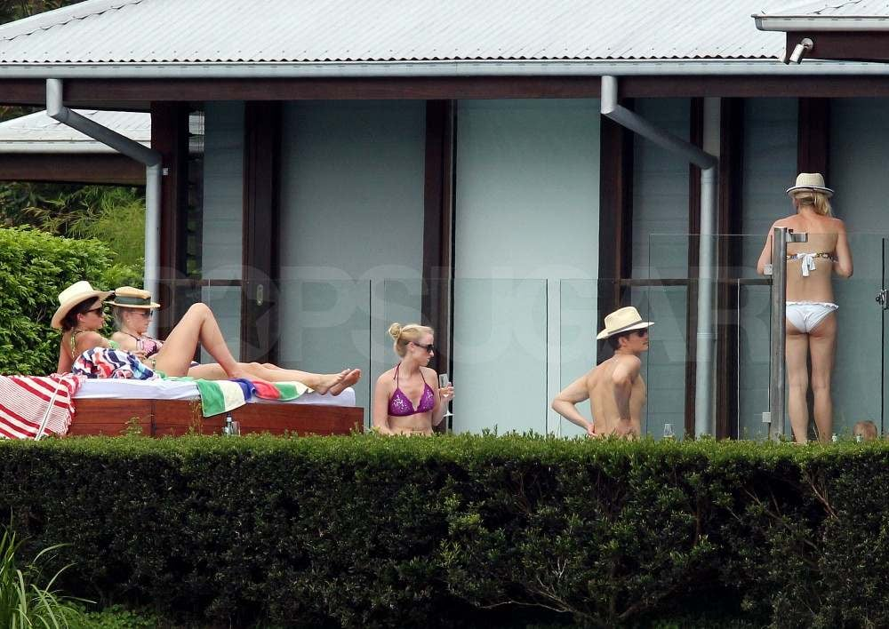 Miranda Kerr Sips Champagne in a Bikini With Shirtless Orlando Bloom and Flynn