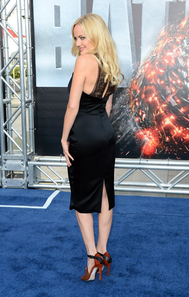 Malin Ackerman paired a LBD with red heels for the premiere of Battleship in LA.