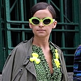 Miroslava Duma proved you can wear your neon more ways than one. Source: Greg Kessler