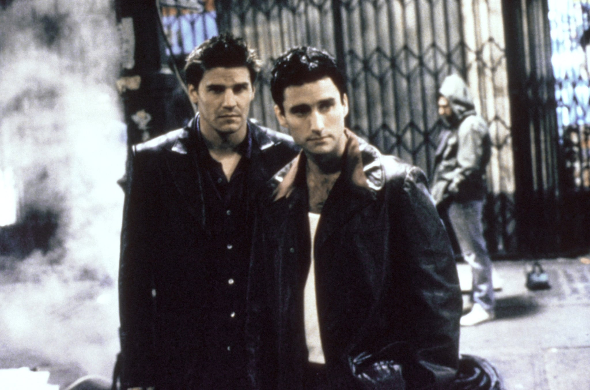 ANGEL, (from left): David Boreanaz, Glenn Quinn, 'City of...', (Season 1, aired Oct. 5, 1999), 1999-2004, TM and Copyright 20th Century Fox Film Corp. All rights reserved./courtesy Everett Collection