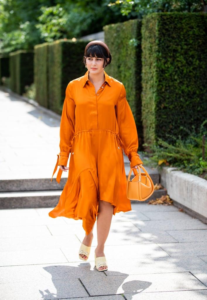 Wear Yellow Heels With an Orange Dress