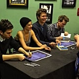Shai @johngreenwritesbooks @anselelgort and @natandalex signing and meeting fans backstage #tfiostour #tfiostn Source: Instagram user popsugar