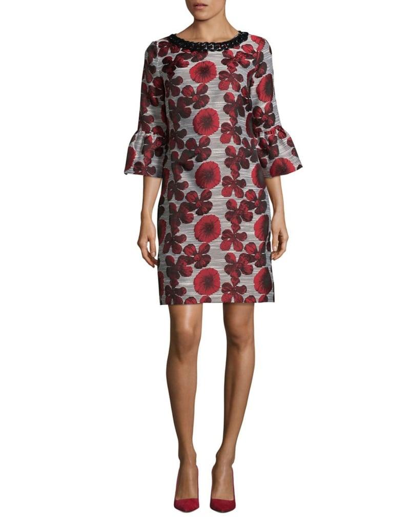 Karl Lagerfeld Paris Floral Print Bell Sleeve Dress