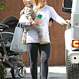 Hilary Duff Cuddles Sleepy Luca on a Sweet Mother-Son Outing