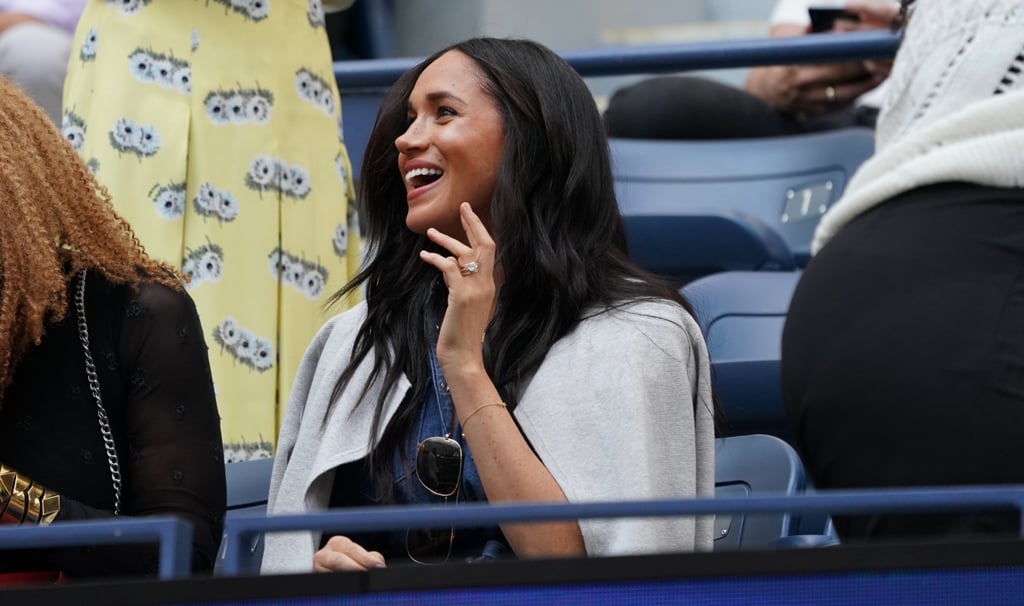 Distance isn't keeping Meghan Markle from supporting bestie Serena Williams! On Saturday, the 38-year-old royal attended the US Open in NYC to cheer on the tennis star at Arthur Ashe Stadium. At the event, Meghan glowed in a buttoned denim dress as she smiled in the stands. We last saw Meghan join a tennis crowd in July when she and sister-in-law Kate Middleton hung out at Wimbledon.  Meghan's sporty outing comes just a couple of weeks before she takes off on an African tour with Prince Harry and their 4-month-old son Archie. The trio will begin the trip on Sept. 23 in Cape Town before Harry visits Botswana, Angola, and Malawi solo while Meghan stays with Archie. The tour will then conclude on Oct. 2 when the family reunites in Johannesburg. But before the duchess's schedule ramps up, check out photos from her US Open appearance!      Related:                                                                                                           Meghan Markle Is Just Getting Started — See All the Ways She's Making Change in 2019