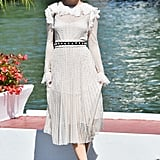 Barbara Palvin's white dress hits all the romantic notes and works for Spring or Summer.