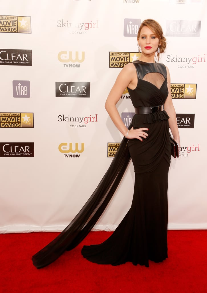 Jennifer Lawrence wore a black Prabal Gurung gown to the Critics' Choice Awards.