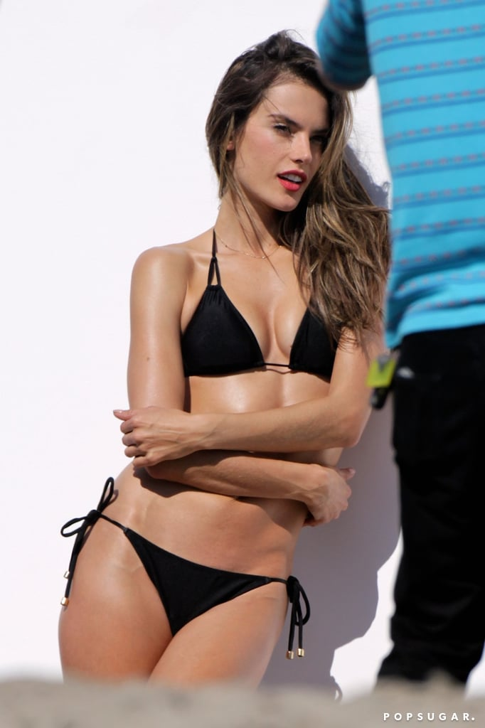 Alessandra Ambrosio worked her stuff for a Victoria's Secret photo shoot.