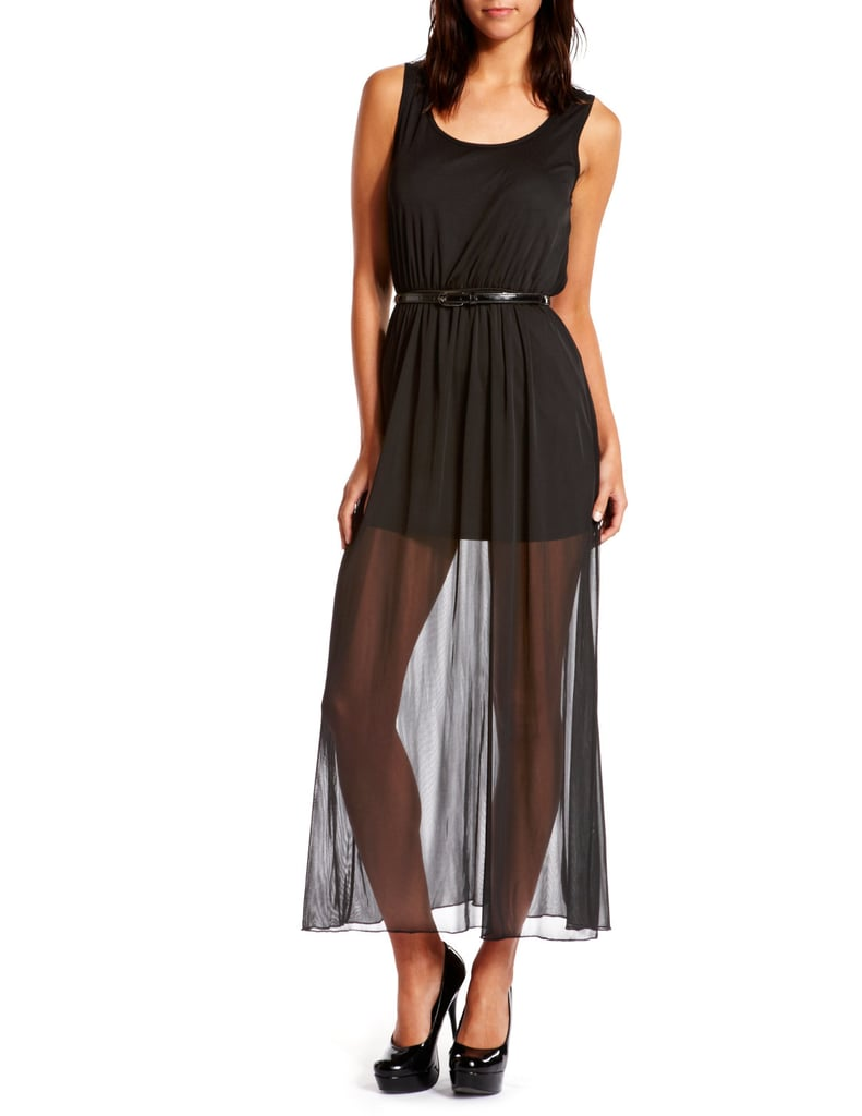 Belted Sheer-Hem Maxi Dress ($30)