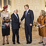 Queen Máxima and King Willem-Alexander with the President of Greece, Prokopis Pavlopoulos.