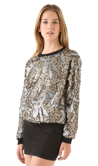 There's something totally vintage-y (like, maybe you found this at the back of your cool grandma's closet) about this April, May Noa sweatshirt ($257). The antiqued paillettes and metallic sequins punch up this casual topper tenfold, and we have to say, it's an eye-catching choice.