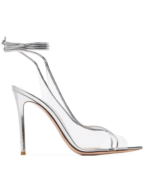 Gianvito Rossi Silver Metallic Denise Leather and PVC Heels