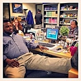 Angela Kinsey found Craig Robinson catching some shut-eye in The Office. Source: Instagram user angelakinsey