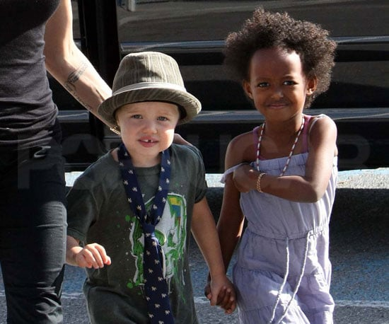 Slide Photo of Shiloh Jolie-Pitt, Zahara Jolie-Pitt at French Grocery Store